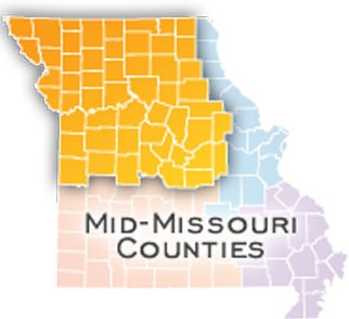 Map of Mid-Missouri Counties