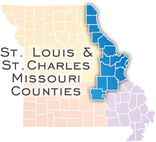Map of St. Louis and St. Charles Missouri Counties